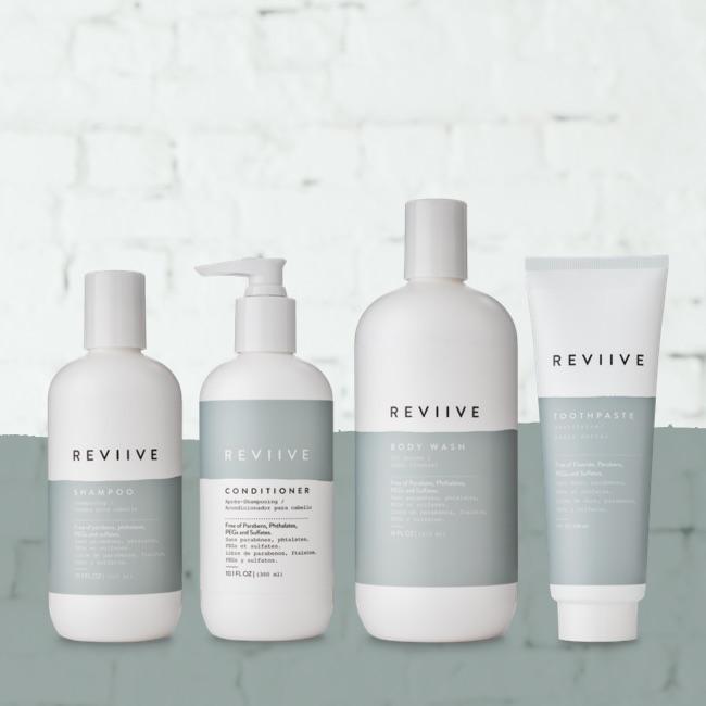 REVIIVE. : Shampoing, gel douche et Dentifrice blancheur naturel et sans toxines